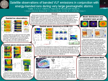 Thumbnail of poster entitled 'Satellite observations of banded VLF emissions in conjunction with energy-banded ions during very large geomagnetic storms'