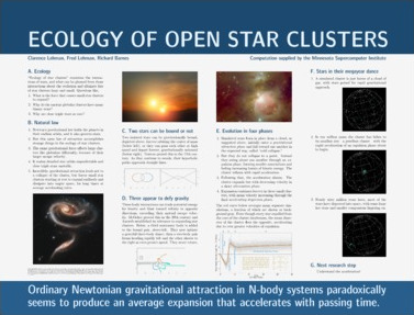 Thumbnail of poster entitled 'Ecology of Open Star Clusters'